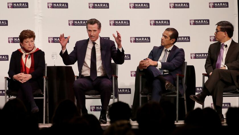 Democratic candidates for California governor Delaine Eastin, from left, Gavin Newsom, Antonio Villaraigosa and John Chiang speak at a NARAL Pro-Choice California event in San Francisco on Tuesday.