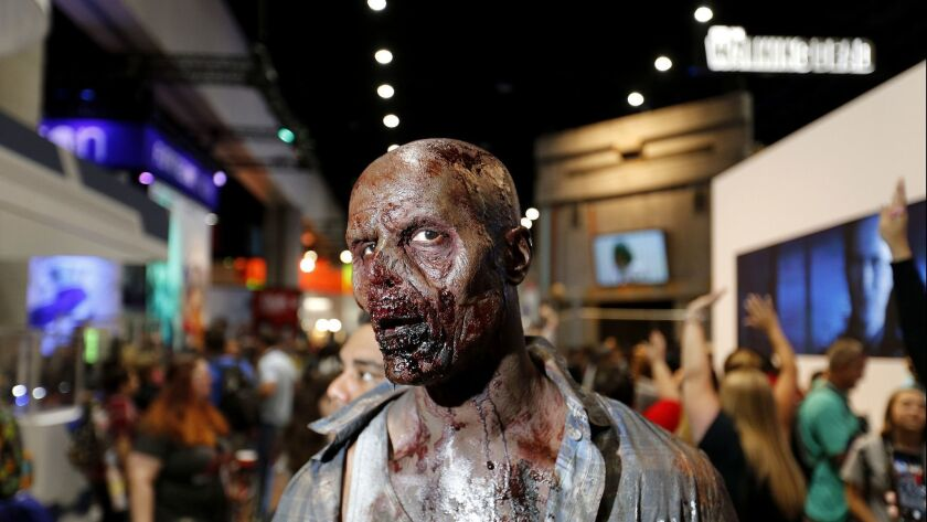 "SAN DIEGO, CALIF. -- THURSDAY, JULY 20, 2017: A zombie from the AMC series ""The Walking Dead"", appro"