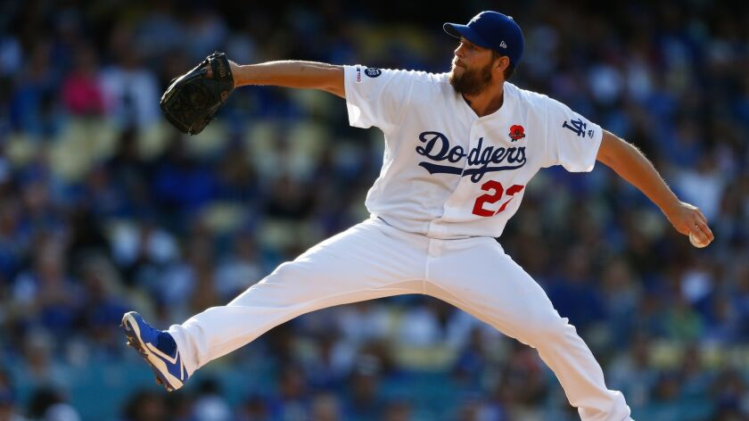 LOS ANGELES, CALIF. - MAY 27: Los Angeles Dodgers starting pitcher Clayton Kershaw (22) pitches agai