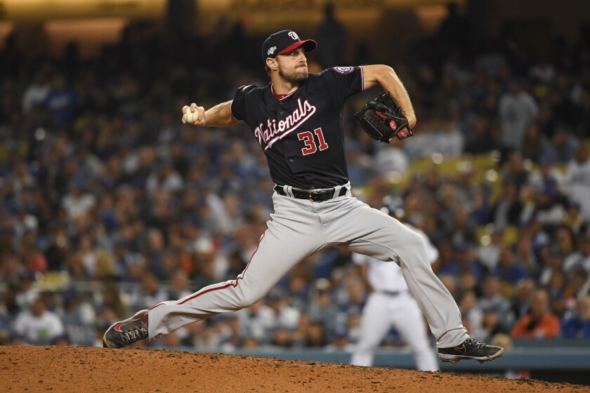 Washington Nationals pitcher Max Scherzer delivers during the eighth inning of a 4-2 win over the Dodgers.