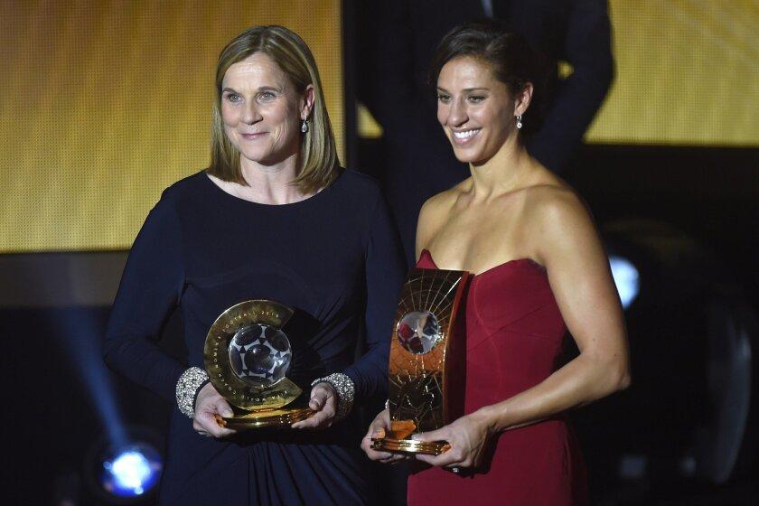 Jill Ellis, left, and Carli Lloyd at the 2015 FIFA Ballon d'Or ceremony in Zurich, Switzerland. U.S. national team star Lloyd won women's player of the year, and Ellis was named the women's coach of the year.