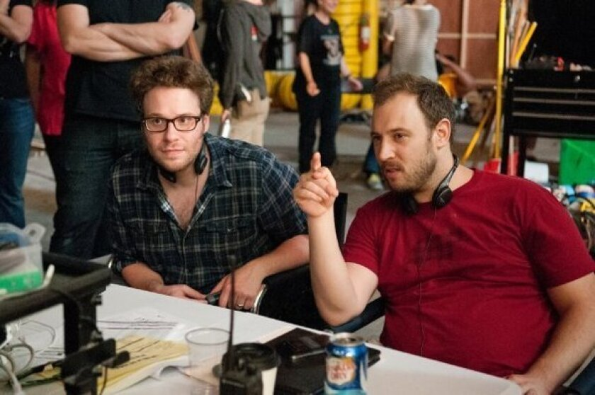 """Directors Seth Rogen, left, and Evan Goldberg on the set of """"This Is the End."""""""