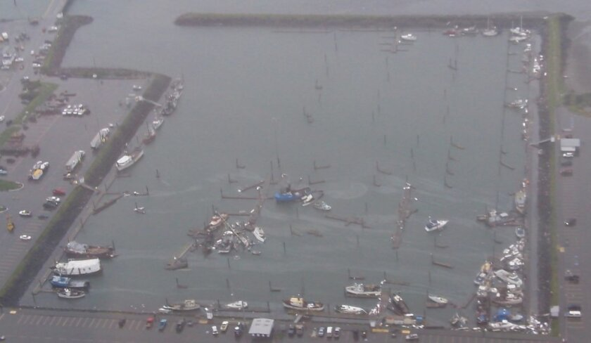 Boats were swamped in Crescent City, California in March 2011 by the tsunami that resulted from the huge quake off Japan.