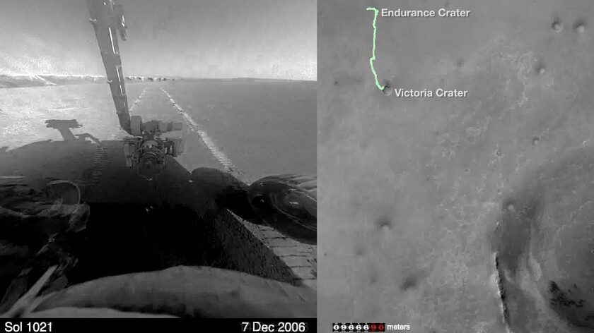 A video made of shots from cameras on NASA's Mars rover Opportunity shows the robotic explorer's marathon-long journey.
