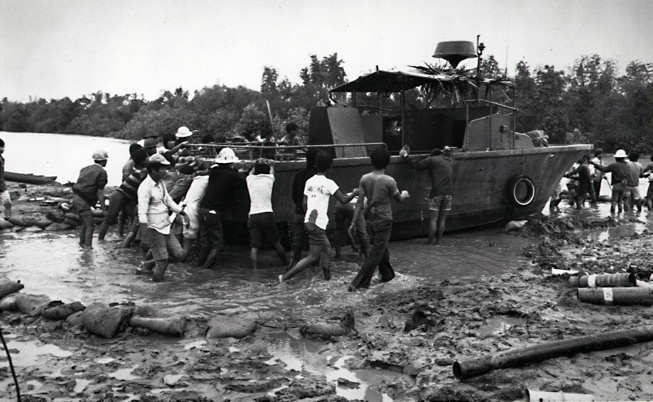 """Cleaning up on the set of """"Apocalypse Now"""" after a typhoon halted production in 1976."""