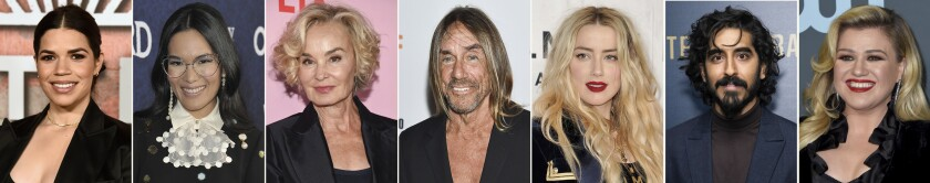 This combination photo of celebrities with birthdays from April 18-24 shows America Ferrera, from left, Ali Wong, Jessica Lange, Iggy Pop, Amber Heard, Dev Patel and Kelly Clarkson. (AP Photo)