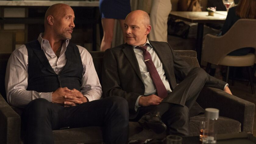 Dwayne Johnson and Rob Corddry as Joe Krutel From the HBO series Ballers. (HBO/ Jeff Daly)