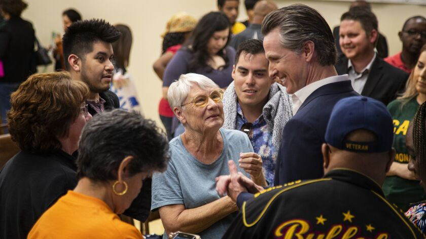 BLOOMINGTON, CA - MAY 25, 2018: Supporters greet Democratic candidate for governor Lt. Gov. Gavin N