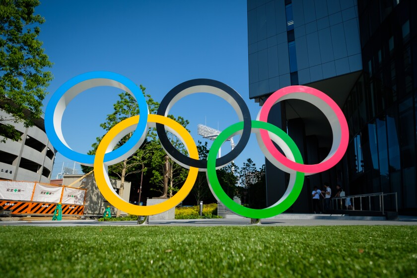 Olympic rings are displayed at Japan Sport Olympic Square...
