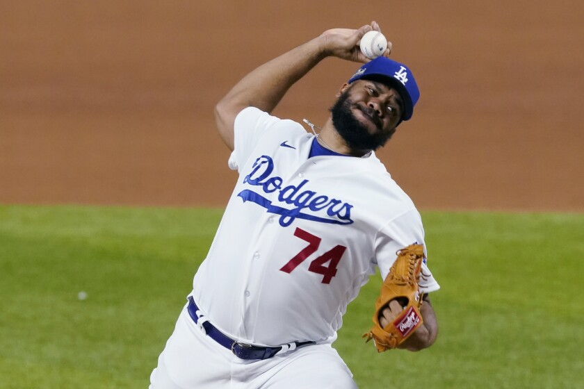 Dodgers pitcher Kenley Jansen delivers against the San Diego Padres during the ninth inning of Game 2.