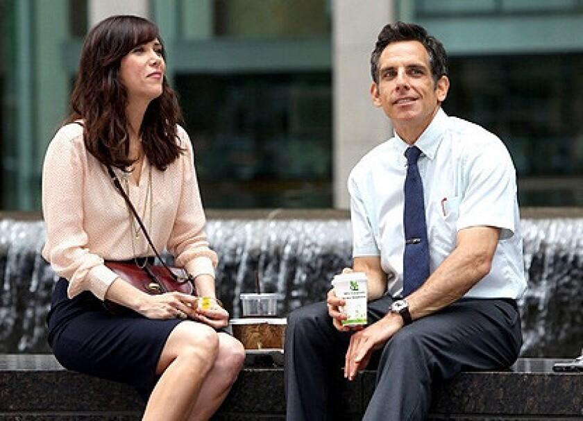 "Kristen Wiig and Ben Stiller in Stiller's new take on the James thurber story ""The Secret Life of Walter Mitty."""