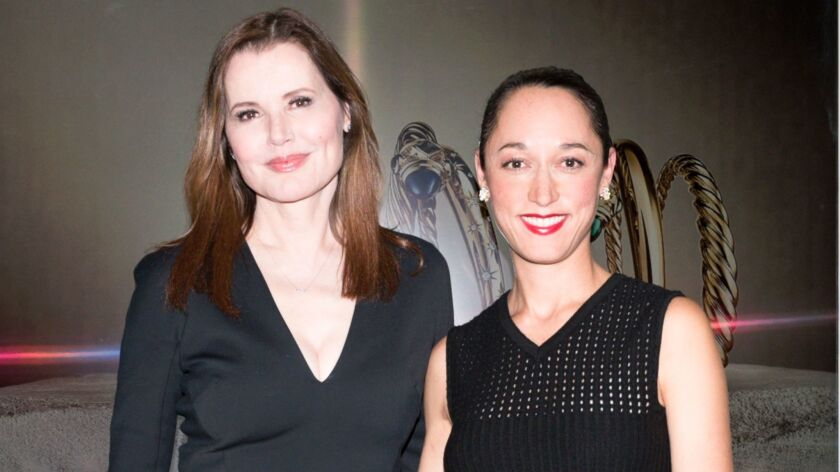 Geena Davis and filmmaker Ku-Ling Yurman, daughter-in-law of David and Sybil Yurman, attend an intimate dinner at Lucques in West Hollywood to celebrate an upcoming documentary about gender in Hollywood.