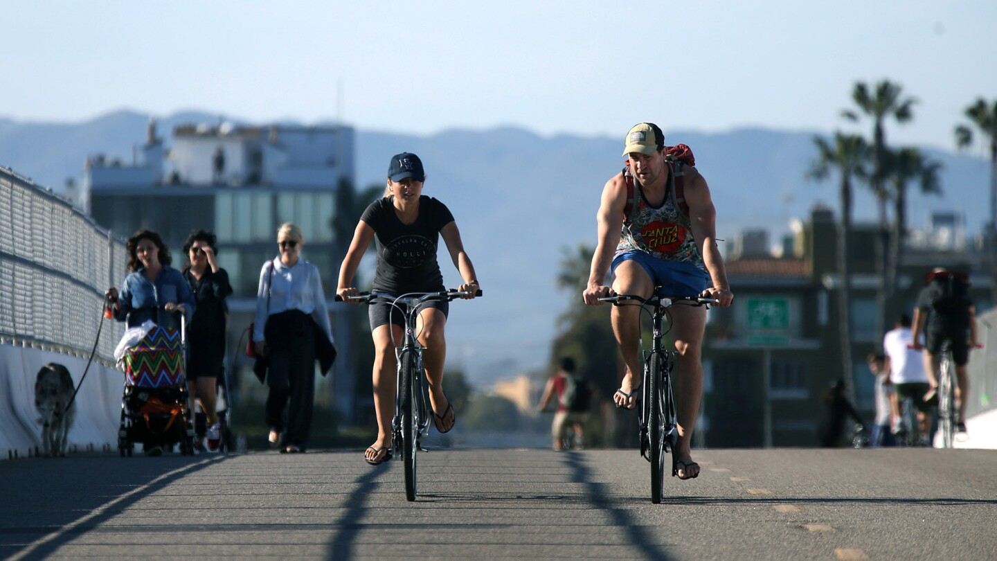 The Ballona Creek Bike Path, above, goes by several communities, including Playa Vista.