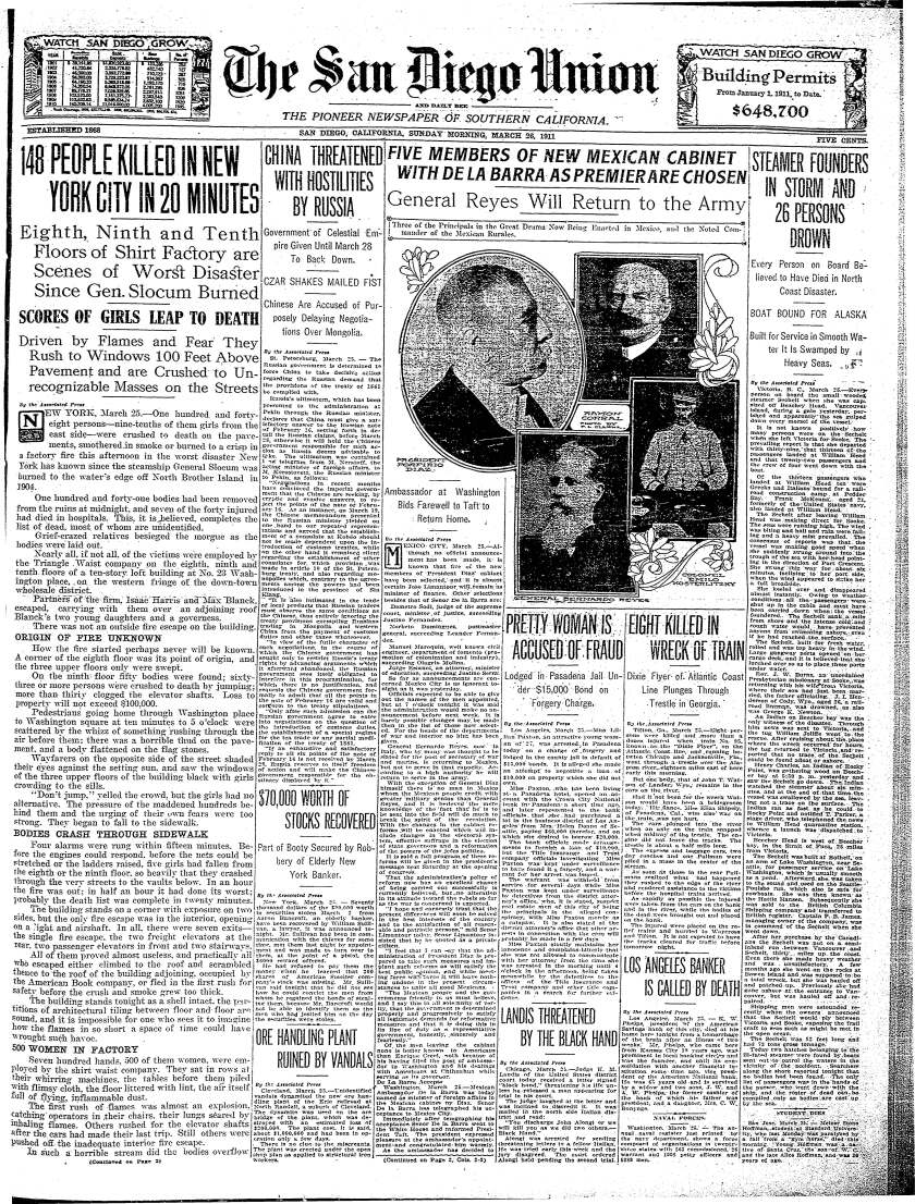 Front page of The San Diego Union from March 26, 1911.