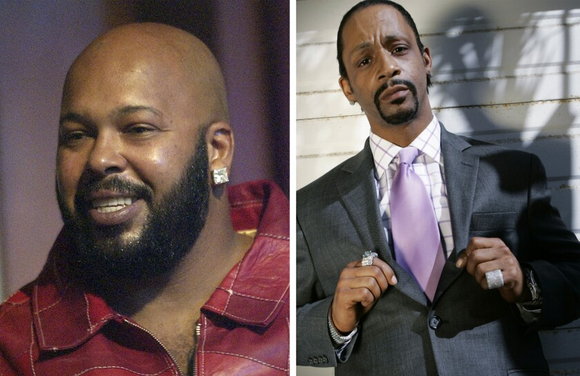 """Rap mogul Marion """"Suge"""" Knight, left, and comedian Micah """"Katt"""" Williams were arrested on suspicion of stealing a camera from a female photographer."""