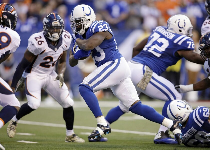 Indianapolis Colts' Frank Gore (23) runs for a 7-yard touchdown during the first half of an NFL football game against the Denver Broncos, Sunday, Nov. 8, 2015, Indianapolis. (AP Photo/AJ Mast)