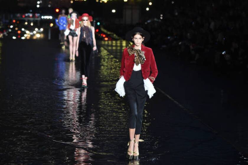 Kaia Gerber on the spring and summer 2019 Saint Laurent runway