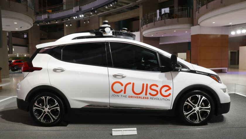 FILE - In this Jan. 16, 2019, file photo, Cruise AV, General Motor's autonomous electric Bolt EV is