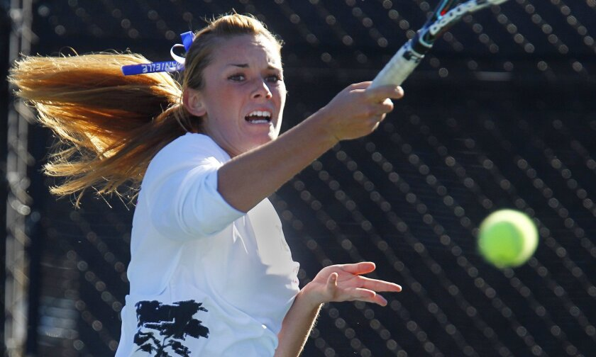 La Jolla Country Day's Danielle Devor returns a shot in the Torreys' San Diego Section Division III championship win.