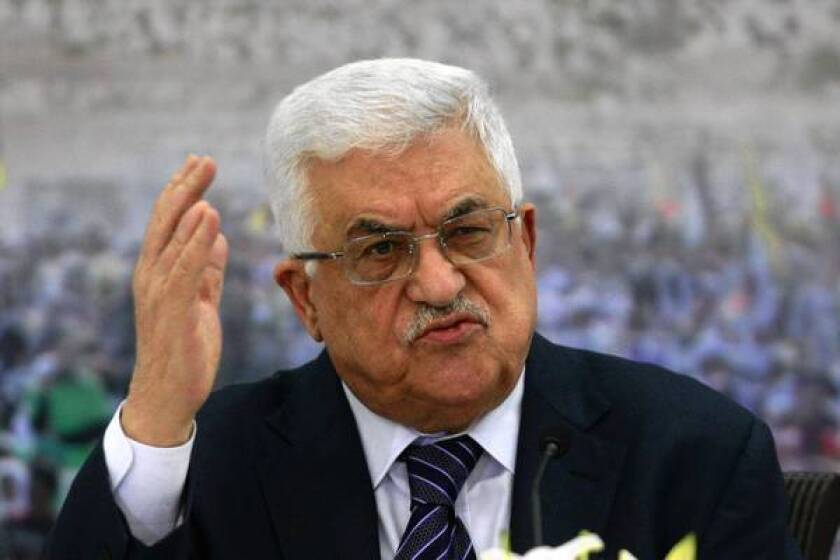 Palestinian Authority President Mahmoud Abbas, pictured last week in the West Bank city of Ramallah, is expected to meet with Secretary of State Hillary Rodham Clinton about the conflict in Gaza.