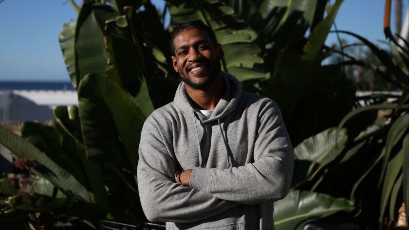 "VENICE, CA-February 19, 2018: Former NFL lineman David Carter, aka the ""300-pound vegan,"" is photogr"
