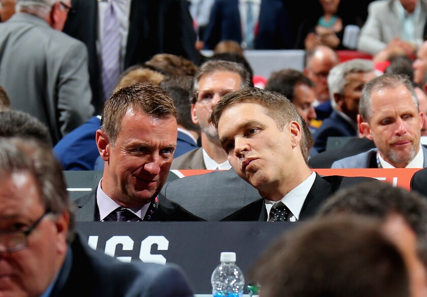 Kings general manager Rob Blake and team president Luc Robitaille attend the 2107 NHL Draft in Chicago.