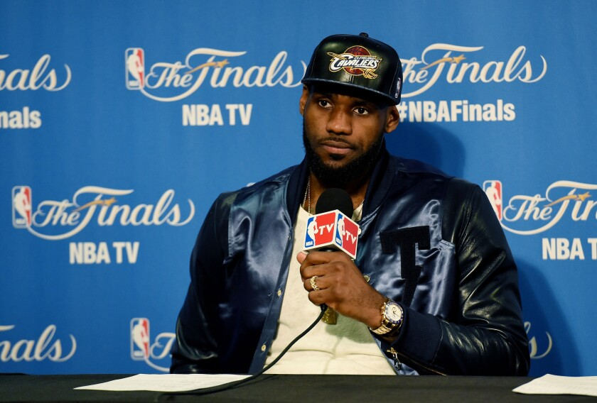 Cleveland forward LeBron James speaks at a news conference following the Cavaliers' 104-91 loss to the Golden State Warriors in Game 5 of the NBA Finals.