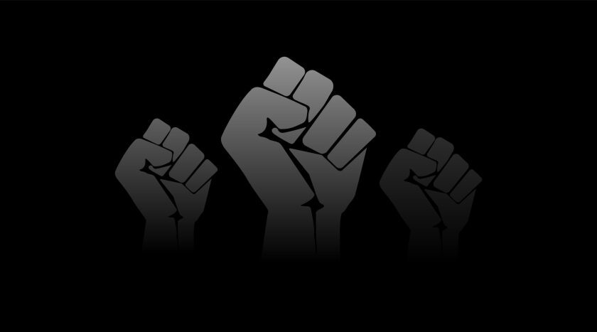 An illustration of fists raised in protest