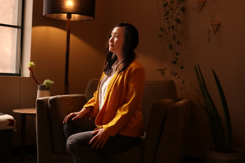 Psychotherapist Linda Yoon, shown in her downtown L.A. office.