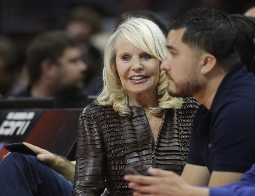 Shelly Sterling, wife of former Los Angeles Clippers owner Donald Sterling, attends an NBA game between the Clippers and the Portland Trail Blazers in Los Angeles on March 4, 2015.