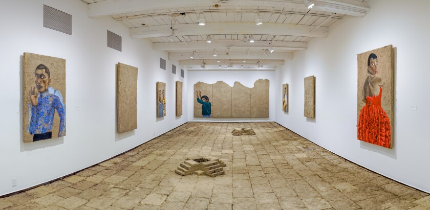 "An installation view of Rafa Esparza's ""staring at the sun"""