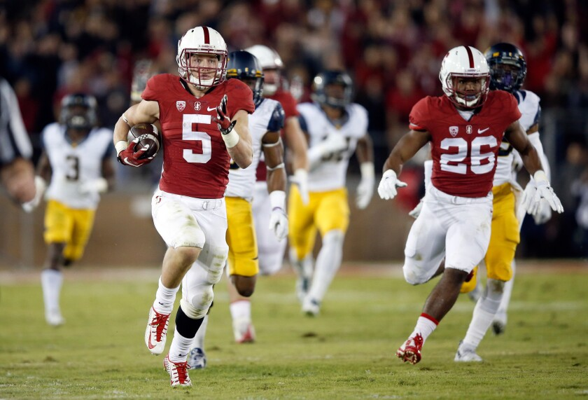 Stanford's Christian McCaffrey runs with a purpose