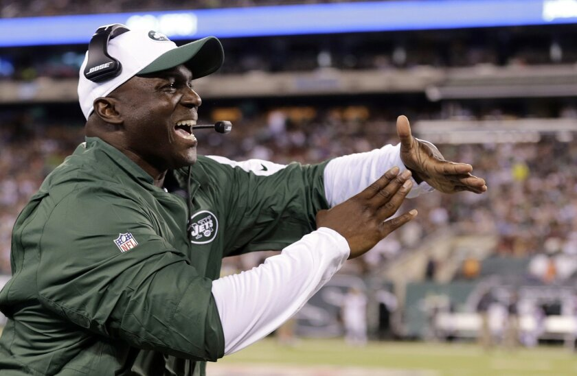 FILE - In this Aug. 21, 2015, file photo, New York Jets coach Todd Bowles calls for a timeout during an NFL football game against the Atlanta Falcons in East Rutherford, N.J. The Jets  have the 20th pick in the first round in next week's NFL draft in Chicago.   (AP Photo/Peter Morgan, File)