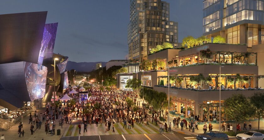 A rendering of the Grand, an apartment-hotel-restaurant-retail complex across from Walt Disney Concert Hall.