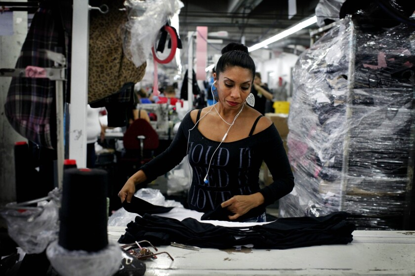 American Apparel products are manufactured in downtown Los Angeles.