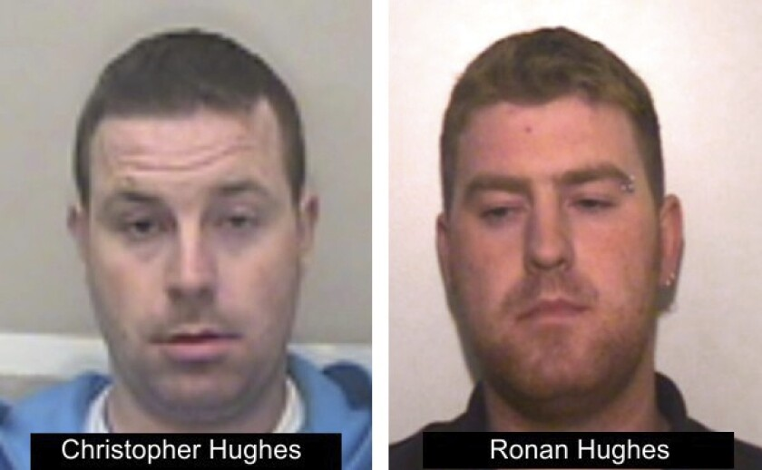 Ronan Hughes, right, and his brother Christopher Hughes are wanted on suspicion of manslaughter and human trafficking.