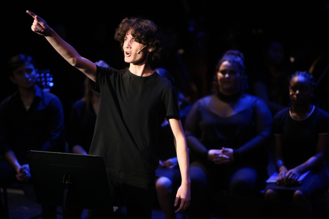 "LACHSA student Archer Isaacson goes through a final dress rehearsal of ""When You Wish Upon a Star."""