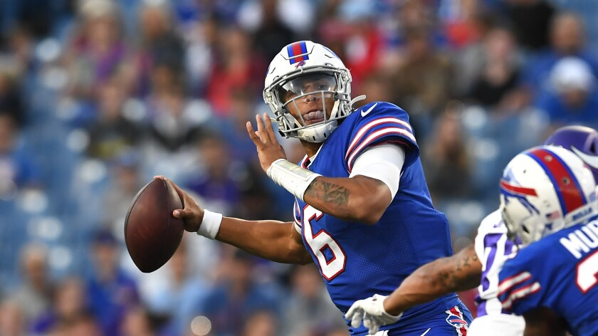 Buffalo Bills quarterback Tyree Jackson prepares to throw during a preseason game against the Minnesota Vikings on Thursday.