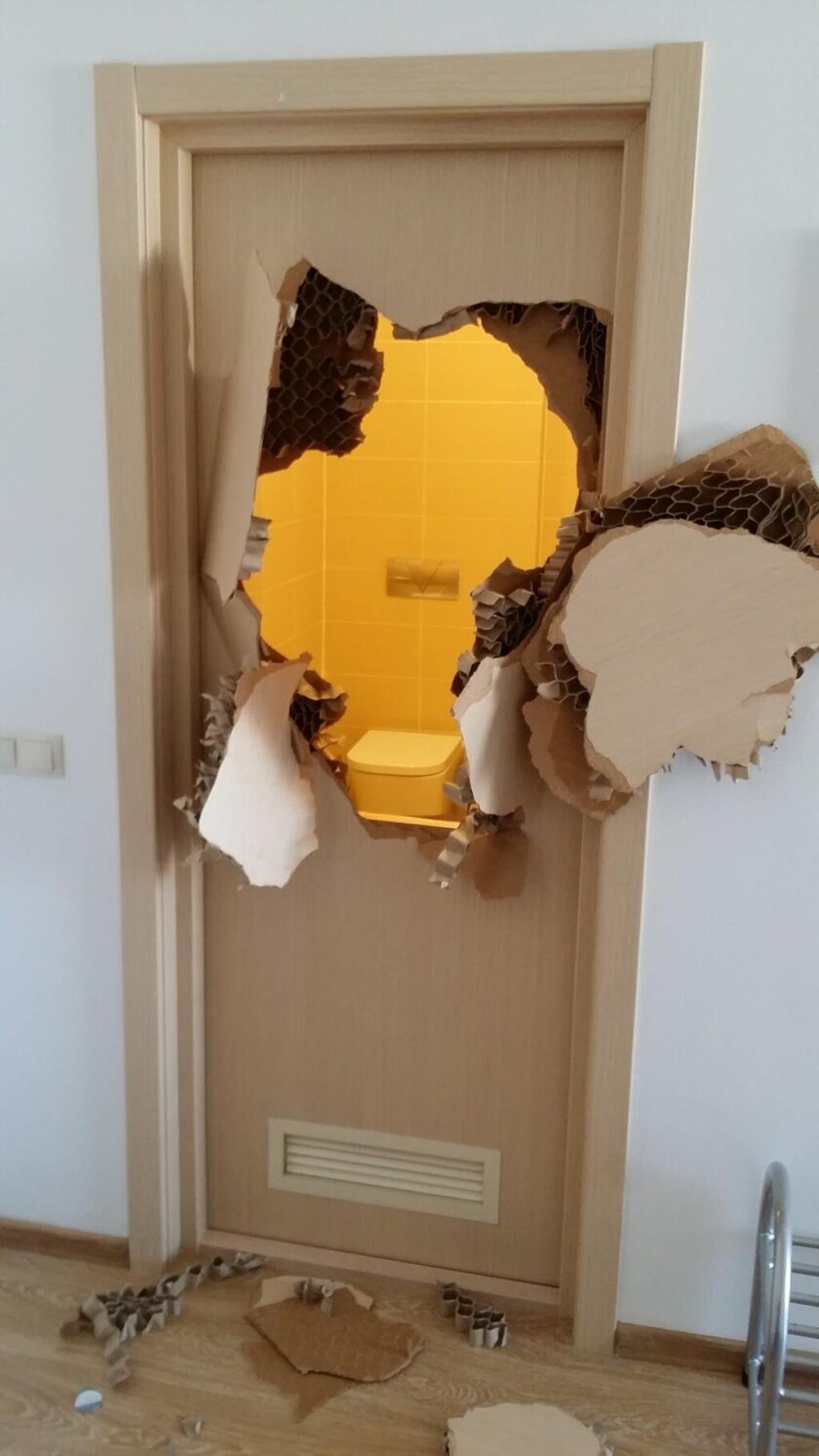 U.S. bobsledder Johnny Quinn tweeted this photo of what happened after the bathroom door jammed with him inside.