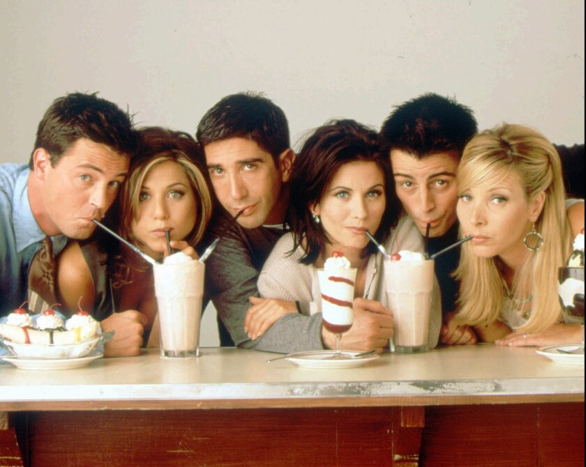 """Friends"": Matthew Perry, Jennifer Aniston, David Schwimmer, Courteney Cox, Matt LeBlanc and Lisa Kudrow."