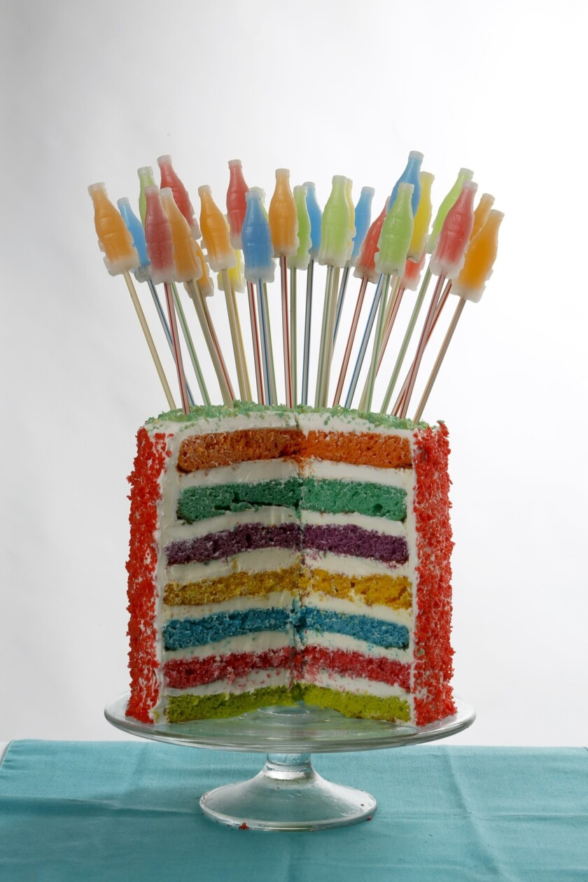You can actually hear popping from the Seven-Layer Soda Pop Rocks Cake as the candies react with the icing. Recipe: Seven-Layer Soda Pop Rocks Cake
