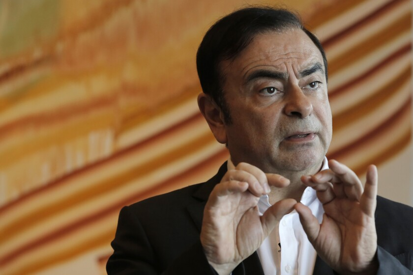 Former Nissan-Renault Chairman Carlos Ghosn in April 2018 during an interview in Hong Kong.