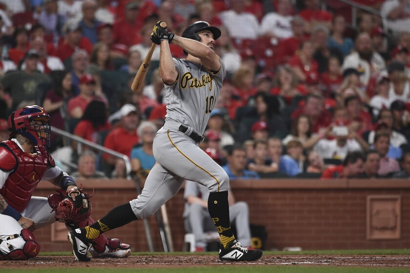Pittsburgh Pirates' Bryan Reynolds hits a home run during the fourth inning of a baseball game against the St. Louis Cardinals Thursday, June 24, 2021, in St. Louis. (AP Photo/Joe Puetz)