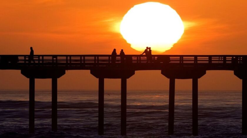 Sunsets behind the Ocean Beach Pier after a big surf day.