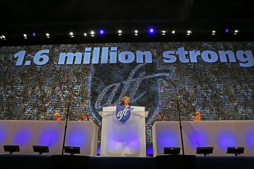 Randi Weingarten, president of the American Federation of Teachers--one of the defendants in the Bain lawsuit--speaks before the AFT 2014 convention in Los Angeles in July.