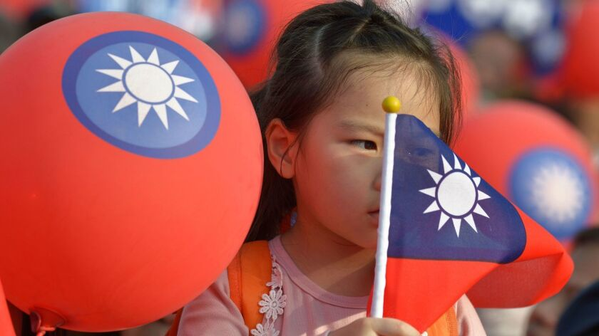 A young supporter of mayoral candidate Ting Shou-chung from the opposition Nationalist Party attends a Nov. 11 rally in Taipei.