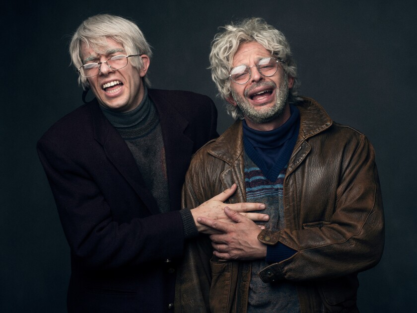 """John Mulaney as George St. Geegland, left, and Nick Kroll as Gil Faizon, stars of """"Oh, Hello"""" at the Montalban Theatre in Hollywood."""
