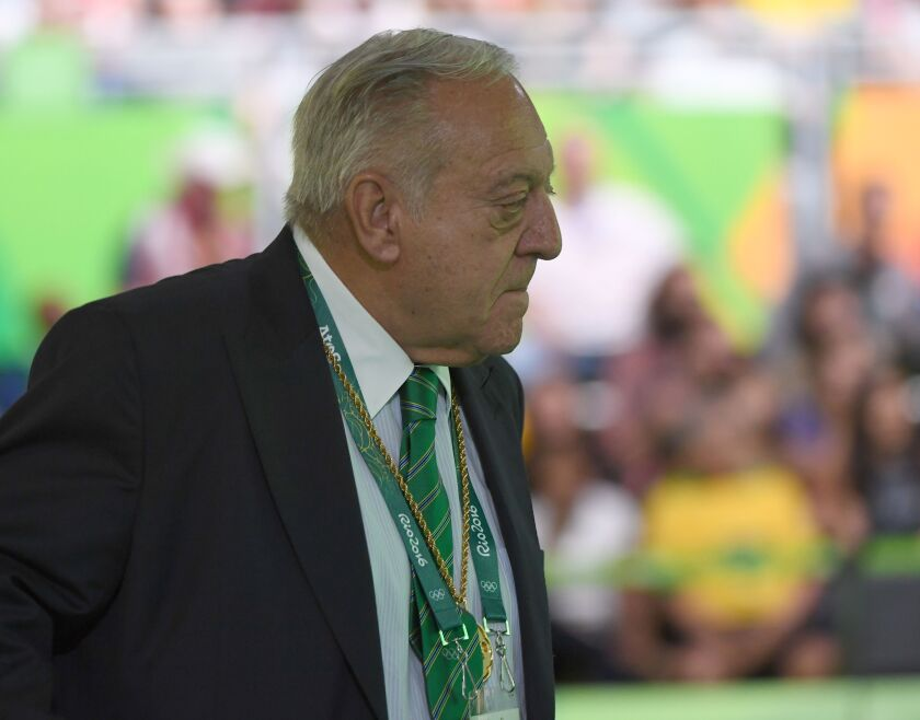 International Weightlifting Federation president Tamas Ajan attends competition during the Rio 2016 Olympic Games.
