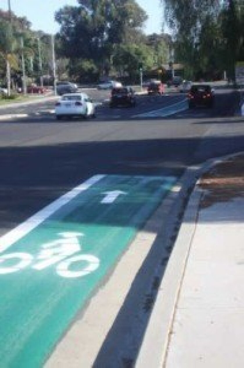 A green lane, which signals to drivers there might be bicyclists present, was painted on Soledad Mountain Road Sept. 23. Ashley Mackin