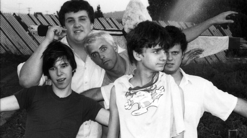 The band The Adolescents in 1981. L–R is Frank Agnew, Steve Soto, Casey Royer, Tony Cadena (center f